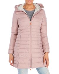 Save The Duck - Pink Hooded Packable Down Coat - Lyst