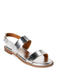 Franco Sarto - Metallic Silver Velocity Snake-effect Slingback Sandals - Lyst