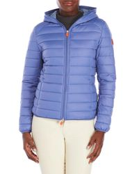 Save The Duck - Blue Pocketable Hooded Jacket - Lyst