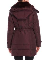 Kenneth Cole - Purple Faux Fur Hooded Down Coat - Lyst
