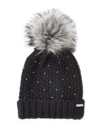 Steve Madden | Black Winter Glint Knit Pom-Pom Beanie | Lyst
