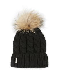 SOIA & KYO - Black Hat With Real Fur Pom-Pom And Folded Cuff - Lyst
