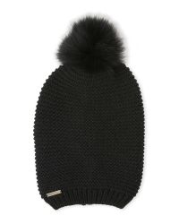 SOIA & KYO - Black Slouch Hat With Real Fur Pom-Pom - Lyst