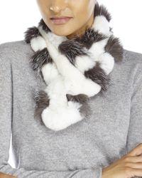 Belle Fare | White Real Rex Rabbit & Fox Fur Scarf | Lyst