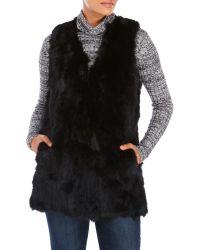 Surell | Black Long Real Rabbit Fur Vest | Lyst