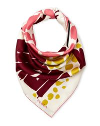 Furla - Pink Multi-Animal Print Silk Scarf - Lyst