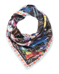 Christian Lacroix | Blue Printed Silk Scarf | Lyst