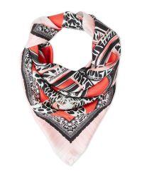 Roberto Cavalli - Red Printed Silk Scarf - Lyst