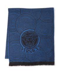 Versace - Blue Medusa-print Wool Scarf - Lyst
