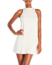 Sequin Hearts - White Embroidered Mock Neck Shift Dress - Lyst
