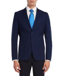 English Laundry - Blue Navy Grid Sport Coat for Men - Lyst
