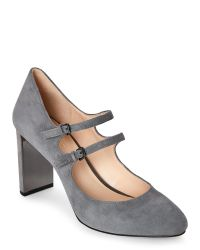 Nine West | Gray Grey Academy Metallic-Accent Mary Jane Pumps | Lyst