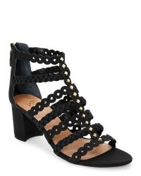 Franco Sarto | Black Paisley Open Toe Block Heel Gladiator Sandals | Lyst