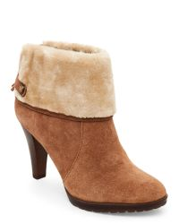 Anne Klein | Natural Teamy Faux Fur-Trimmed Booties | Lyst