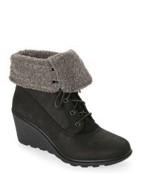 Timberland | Black Amston Roll Top Wedge Boots | Lyst