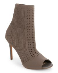 Charles by Charles David | Brown Taupe Rebellion Knit Peep Toe Booties | Lyst