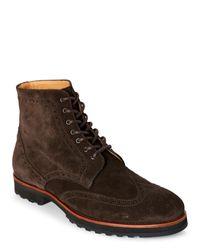 Thomas Dean | Dark Brown Suede Wingtip Boots for Men | Lyst