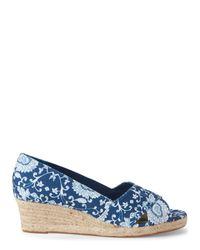 Ellen Tracy - Blue Printed Kandi Wedge Sandals - Lyst