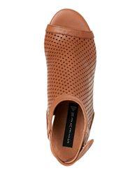 Steven by Steve Madden | Brown Tan Sambar Perforated Peep Toe Cutout Booties | Lyst