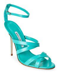 Manolo Blahnik - Blue Turquoise Eremito Strappy Sandals - Lyst