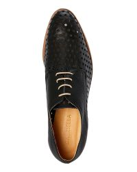 Gabriella - Black Perforated Nappa Leather Oxfords for Men - Lyst