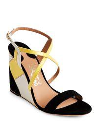Ferragamo | Black & Mimosa Gris Wedge Heel Sandals | Lyst