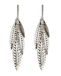 Rebecca Minkoff   Metallic Silver-Tone Leaf Chandelier Earrings   Lyst