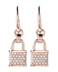 Michael Kors - Metallic Rose Gold-Tone Padlock Earrings - Lyst