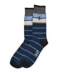 Original Penguin - Blue Prescott Striped Crew Socks for Men - Lyst