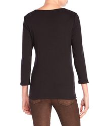 Rafaella | Black Beaded Three-Quarter Sleeve Sweater | Lyst