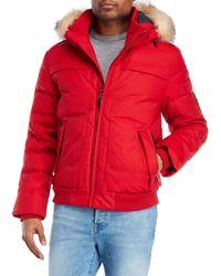 Pajar - Red Real Fur Trim Down Bomber Jacket for Men - Lyst