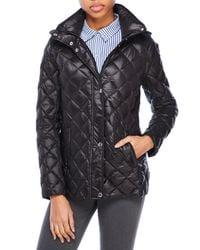 Lauren by Ralph Lauren - Black Quilted Hooded Down Jacket - Lyst
