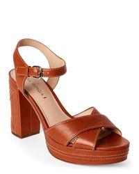 Via Spiga - Brown Cognac Brianna Platform Block Heel Sandals - Lyst