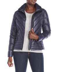Lauren by Ralph Lauren - Blue Chevron Quilted Packable Down Jacket - Lyst