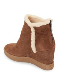 Aquatalia - Brown Chestnut Charlie Trimmed Wedge Booties - Lyst