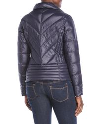 Lauren by Ralph Lauren - Blue Chevron Quilted Packable Down Jacket - Lyst