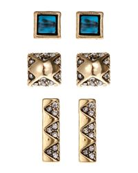 House of Harlow 1960 - Metallic Set Of 3 Gold-Tone Stud Earrings - Lyst