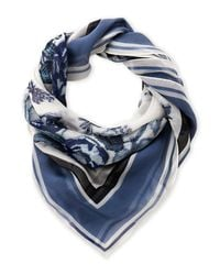 Vince Camuto - Blue Romantic Floral Silk Scarf - Lyst