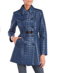 Kate Spade - Blue Quilted Belt Jacket - Lyst