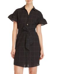 Lush - Black Plaid Belted Shirt Dress - Lyst