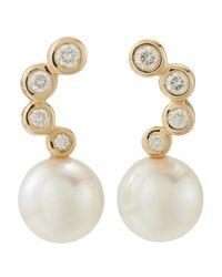 Tara Pearls | Metallic Japanese Akoya Cultured Pearl & Diamond Earrings | Lyst