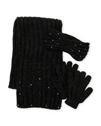 Betsey Johnson - Black 3-piece Scarf Headband & Glove Gift Set - Lyst