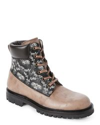 Dolce & Gabbana - Black Two-Tone Leather Boots - Lyst