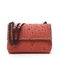 Bottega Veneta - Red Intrecciato Butterfly Shoulder Bag - Lyst