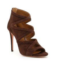 Aquazzura - Brown Cut-out Suede Sandals - Lyst