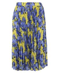 Balenciaga - Blue Flower Print Plisse Skirt - Lyst