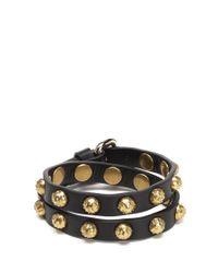RED Valentino - Black Dot Stud Double Wrap Bracelet - Lyst