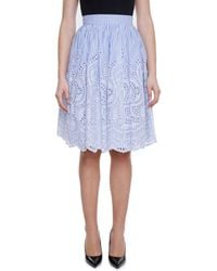 Miu Miu - Blue Cut-out Lace Stripe Skirt - Lyst