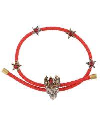 Alexander McQueen - Red Braided Queen Skull Bracelet - Lyst