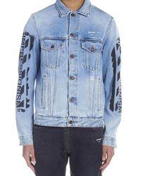 Off-White c/o Virgil Abloh - Blue 'impressionism' Denim Jacket for Men - Lyst